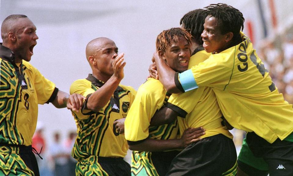Theodore Whitmore celebrates after scoring Jamaica's first goal in their 1998 World Cup win over Japan