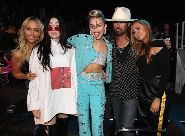 "<p>While there were no wins for the Cyrus crew at the MTV VMAs on Aug. 27, the family was in a jovial mood for the big show, which saw Noah and tongue-tied Miley nominated (Best New Artist and Best Pop Video, respectively) and the ""Younger Now"" singer performing in her Elvis-like ensemble. Tish and Billy Ray, who are happy together despite relationship difficulties through the years, were proud of their girls, and Brandi was supporting her very fashionable little sisters. (Photo: Christopher Polk/MTV1617/Getty Images for MTV) </p>"