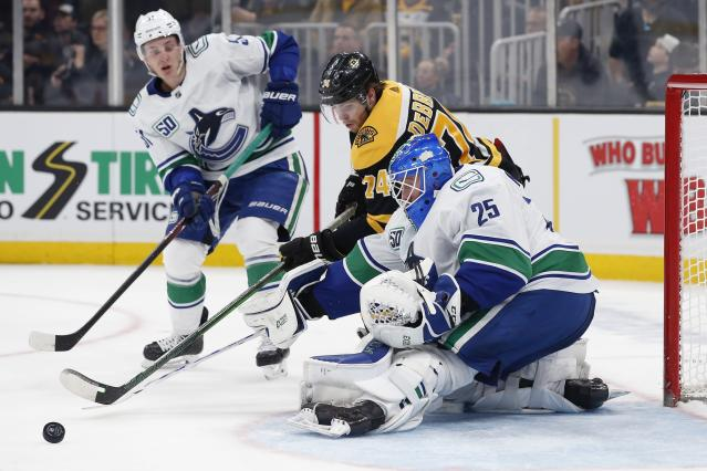 Boston Bruins' Jake DeBrusk (74) tries to get a shot past Vancouver Canucks' Jacob Markstrom (25) during the second period of an NHL hockey game in Boston, Tuesday, Feb. 4, 2020. (AP Photo/Michael Dwyer)