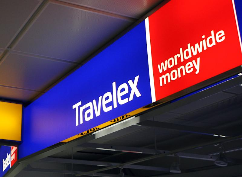 File photo dated 08/12/08 of a Travelex sign at Heathrow Airport. At least 14 institutions, including some of Britain's biggest high street banks, have been hit by a major outage, stopping them from offering euros, dollars and other foreign cash to customers across the UK.