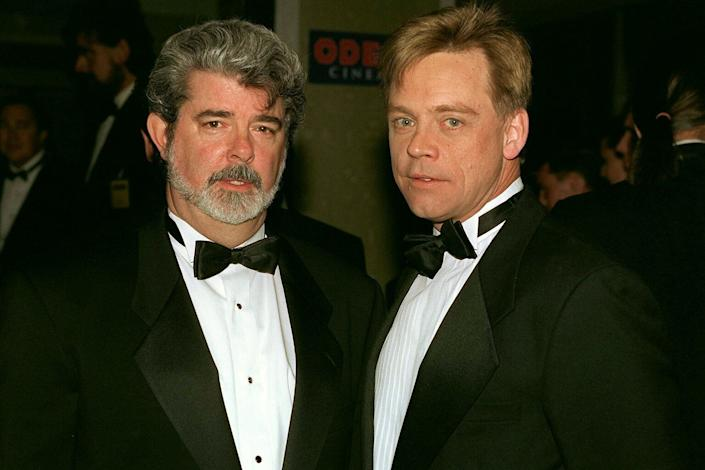 Creator George Lucas (left) and actor Mark Hamill (right) who played Luke Skywalker at 'Star Wars' Premiere (Photo by Tim Graham/Sygma/Corbis via Getty Images)