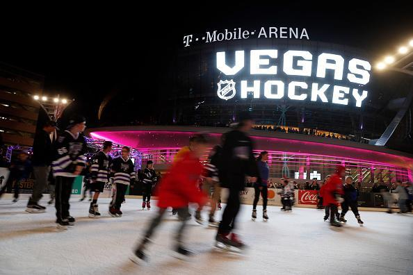 LAS VEGAS, NV - NOVEMBER 22: Children skate on an ice rink before the unveiling of the new logo and name for the Vegas Golden Knights in Toshiba Plaza at T-Mobile Arena November 22, 2016 in Las Vegas, Nevada. The Golden Knights will begin play in the 2017-18 season. (Photo by Isaac Brekken/NHLI via Getty Images)