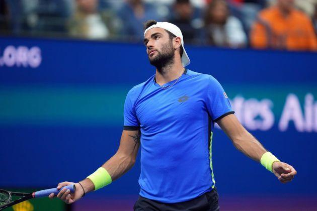 Sep 8, 2021; Flushing, NY, USA; Matteo Berrettini of Italy reacts after making an error in the third set against Novak Djokovic of Serbia on day ten of the 2021 U.S. Open tennis tournament at USTA Billie Jean King National Tennis Center. Mandatory Credit: Danielle Parhizkaran-USA TODAY Sports (Photo: USA Today Sports via Reuters)