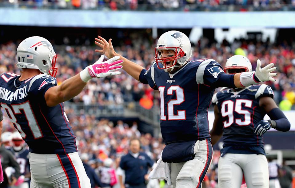The lure of reuniting with Tom Brady has brought Rob Gronkowski out of retirement. (Photo by Jim Rogash/Getty Images)