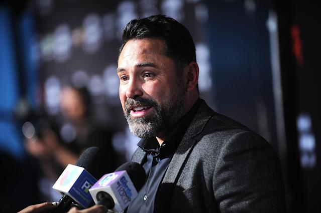 Chairman and CEO of Golden Boy Promotions Oscar De La Hoya attends the Canelo Alvarez and Gennady Golovkin Press Tour at The Theater at Madison Square Garden on June 20, 2017 in New York City. (Getty Images)