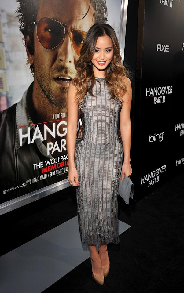 """<a href=""""http://movies.yahoo.com/movie/contributor/1809766996"""">Jamie Chung</a> attends the Los Angeles premiere of <a href=""""http://movies.yahoo.com/movie/1810187722/info"""">The Hangover Part II</a> on May 19, 2011."""