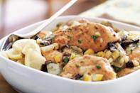 """Radiating the aromas of toasted cumin and coriander, and spiked with the salty-sour pucker of cured lemons and olives, this wonderful chicken stew produces a heady effect. <a href=""""https://www.epicurious.com/recipes/food/views/marrakech-chicken-stew-with-preserved-lemon-and-olives?mbid=synd_yahoo_rss"""" rel=""""nofollow noopener"""" target=""""_blank"""" data-ylk=""""slk:See recipe."""" class=""""link rapid-noclick-resp"""">See recipe.</a>"""