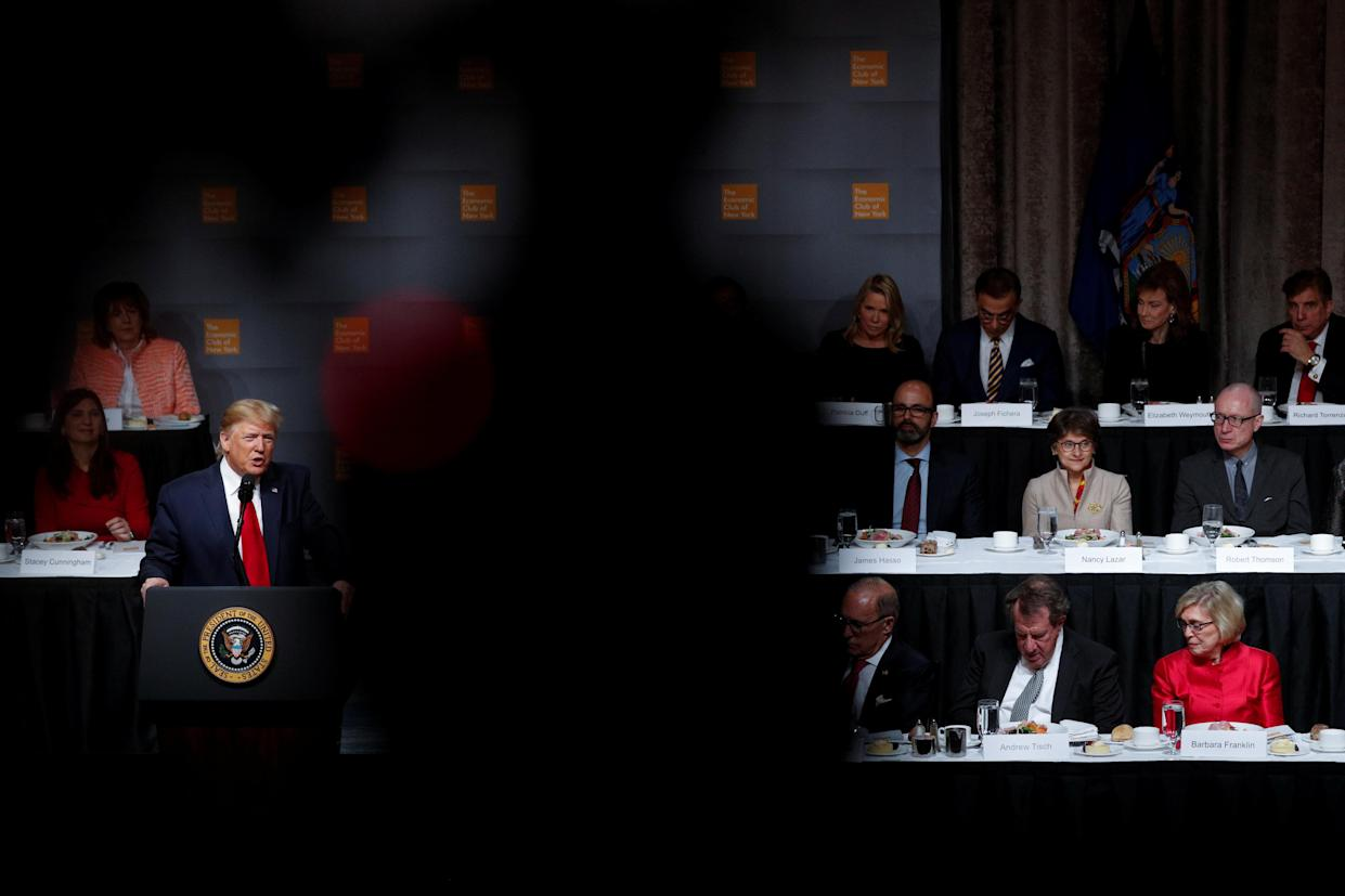 U.S. President Donald Trump delivers remarks at the Economic Club of New York at the Hilton Midtown Hotel in Manhattan, New York, U.S., November 12, 2019. REUTERS/Tom Brenner