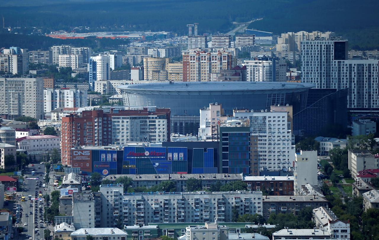 The Ekaterinburg Arena stadium is seen under construction ahead of the 2018 FIFA World Cup in Yekaterinburg, Russia, July 28, 2017. REUTERS/David Mdzinarishvili