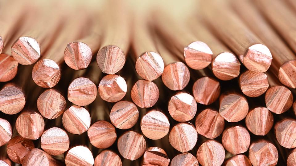 Electrical power cable close-up with selective focusCopper wire raw materials and metals industry and stock market concept.
