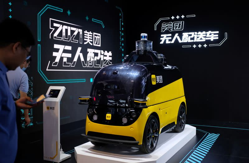 Autonomous delivery vehicle by Meituan is displayed at the World Artificial Intelligence Conference in Shanghai