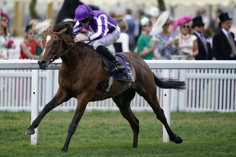 Ryan Moore riding Japan win The King Edward VII Stakes at last year's Royal Ascot. He'll go off favourite for today's Prince of Wales Stakes