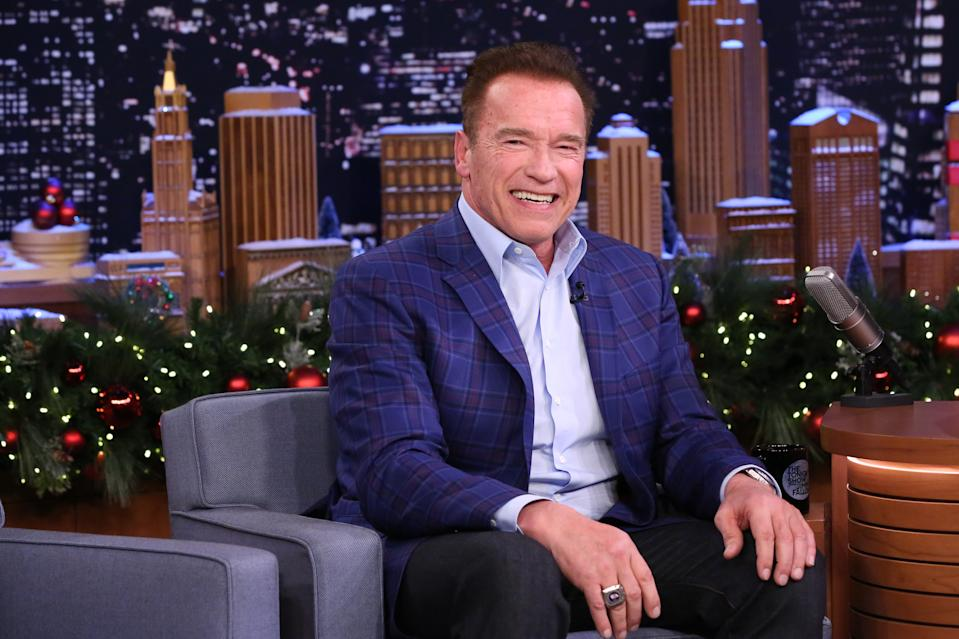 THE TONIGHT SHOW STARRING JIMMY FALLON -- Episode 0591 -- Pictured: Actor Arnold Schwarzenegger during an Interview on December 14, 2016 -- (Photo by: Andrew Lipovsky/NBCU Photo Bank/NBCUniversal via Getty Images via Getty Images)