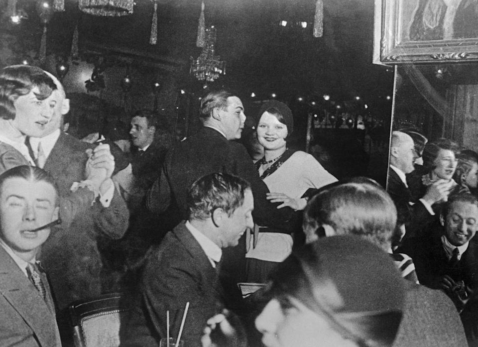 <p>Numerous cafes and bars occupy the Montmartre in the Latin Quarter of Paris, France. This scene from the Cafe de la Rotonde captures a crowd of dancers.</p>
