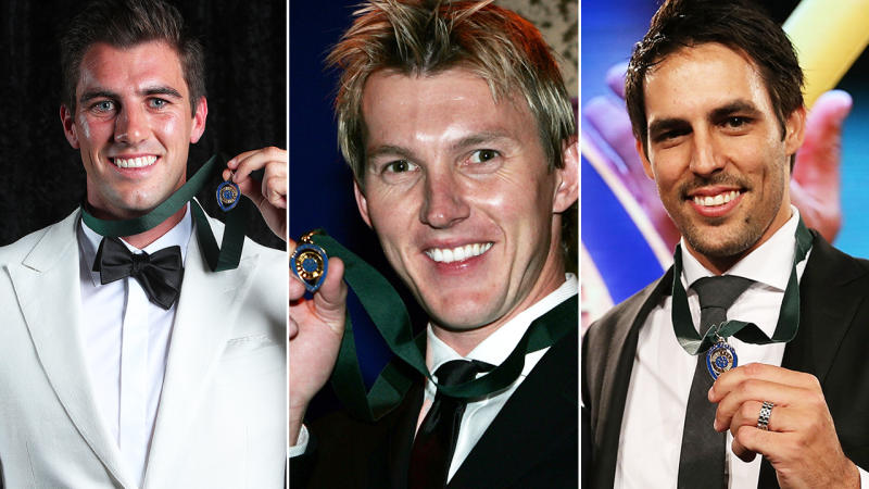 Pat Cummins, Brett Lee and Mitchell Johnson, pictured here after their Allan Border Medal victories.