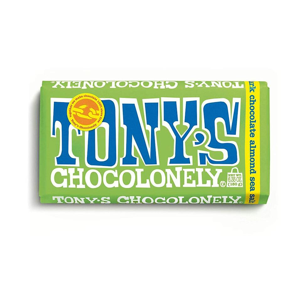 """<p><strong>Tony's Chocolonely</strong></p><p>amazon.com</p><p><strong>$4.99</strong></p><p><a href=""""https://www.amazon.com/dp/B07QG4J6FJ?tag=syn-yahoo-20&ascsubtag=%5Bartid%7C2141.g.34860244%5Bsrc%7Cyahoo-us"""" rel=""""nofollow noopener"""" target=""""_blank"""" data-ylk=""""slk:SHOP NOW"""" class=""""link rapid-noclick-resp"""">SHOP NOW</a></p><p>These truly massive Dutch <a href=""""https://www.prevention.com/food-nutrition/healthy-eating/g25728973/healthy-chocolate-bars-snacks/"""" rel=""""nofollow noopener"""" target=""""_blank"""" data-ylk=""""slk:candy bars"""" class=""""link rapid-noclick-resp"""">candy bars</a> are <strong>ideal for people who already have everything</strong>—no one would ever return dark chocolate with almonds and sea salt. Trust us, it's worth the extra few bucks.</p>"""