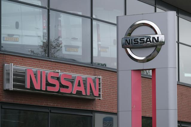 The Nissan Motor Co. logos are seen outside a dealer in Noordwijk, Netherlands. Photo: Yuriko Nakao/Getty Images