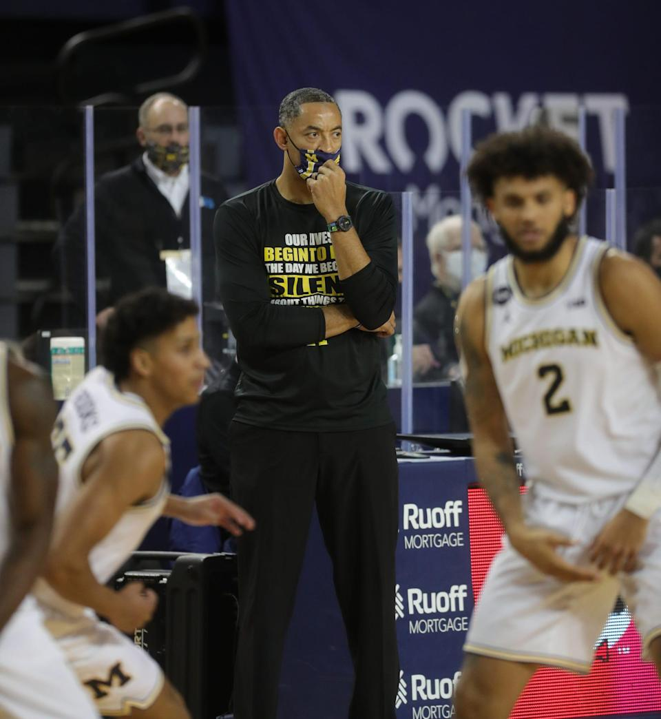 Michigan Wolverines coach Juwan Howard during action against the Maryland Terrapins, Tuesday, Jan. 19, 2021.