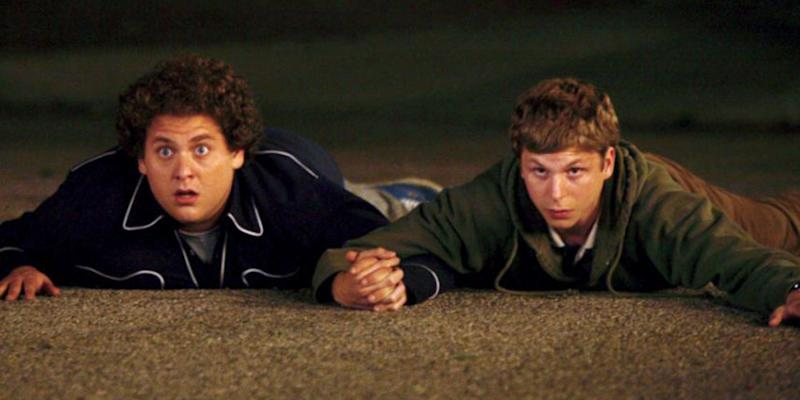 Jonah Hill as Seth and Michael Cera as Evan in 'Superbad'. (Credit: The Apatow Company)