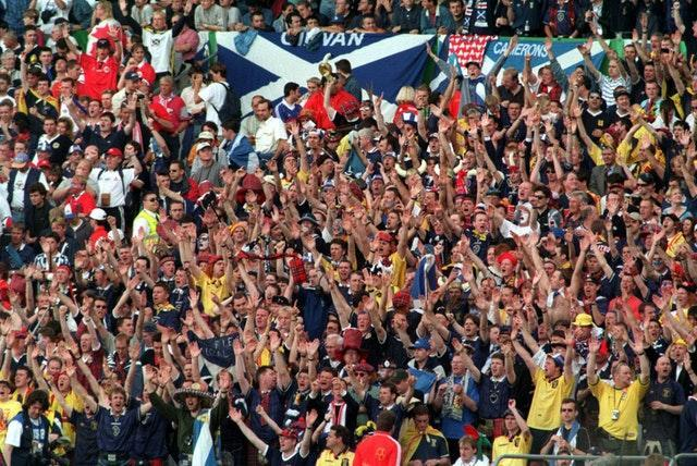 Scotland fans turned out in force for their World Cup clash with Norway in 1998 (PA)