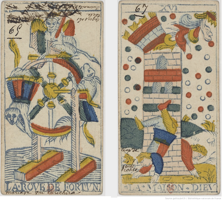 """<span class=""""caption"""">Two images from a Tarot de Marseilles deck allegedly annotated by the fortune teller Mademoiselle Lenormand.</span> <span class=""""attribution""""><a class=""""link rapid-noclick-resp"""" href=""""https://gallica.bnf.fr/ark:/12148/btv1b10537348r?rk=364808;4"""" rel=""""nofollow noopener"""" target=""""_blank"""" data-ylk=""""slk:Bibliothèque Nationale de France"""">Bibliothèque Nationale de France</a></span>"""