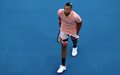 Nick Kyrgios tries to respond to going down an early break  - Credit: GETTY IMAGES