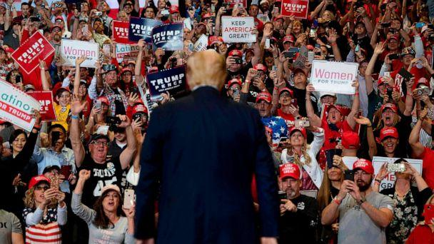 PHOTO: Supporters cheer as President Donald Trump arrives to deliver remarks at a Keep America Great rally in Las Vegas on Feb. 21, 2020. (Jim Watson/AFP via Getty Images)