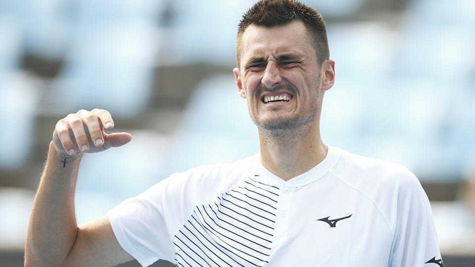 Bernard Tomic, pictured here in action during qualifying for the Australian Open in January.