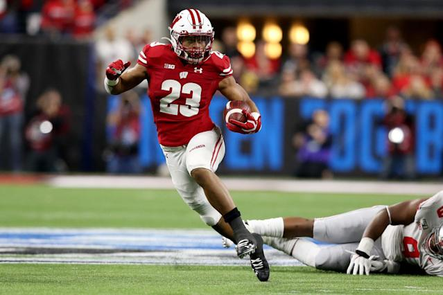 Wisconsin RB Jonathan Taylor could end up as the top back drafted in 2020 — or even the fourth one picked. (Photo by Justin Casterline/Getty Images)