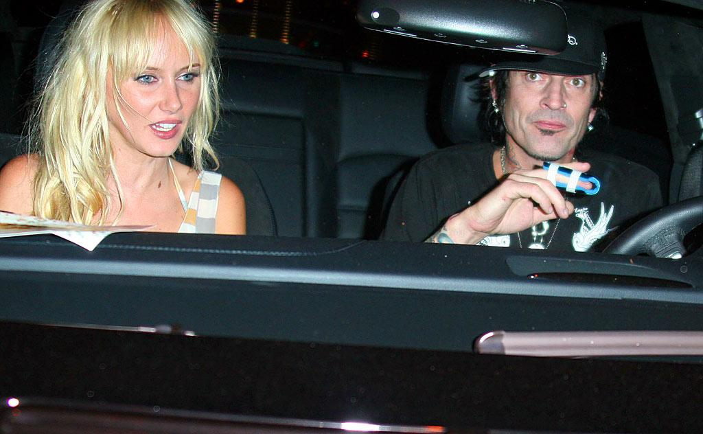 "Kimberly Stewart and Tommy Lee arrive for Courtney Love's concert at the Roxy. Rodrigo Marques/<a href=""http://www.splashnewsonline.com/"" target=""new"">Splash News</a> - July 17, 2007"