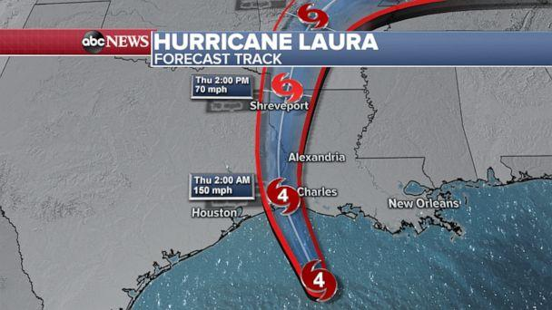 PHOTO: Hurricane Laura is forecast to make landfall as a Category 4 hurricane with sustained winds around 150 mph. (ABC News)