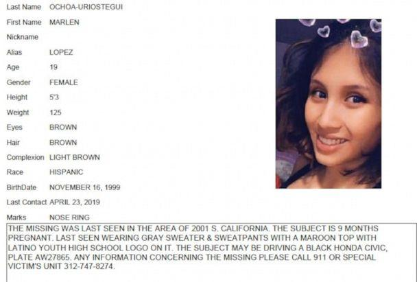 PHOTO: Chicago Police missing person flier for Marlen Ochoa-Uriostegui, who had gone to a Chicago home in response to a Facebook offer of free baby clothes, was strangled and her baby cut from her womb, police and family members said. (Chicago Police/Chicago Tribune/AP)