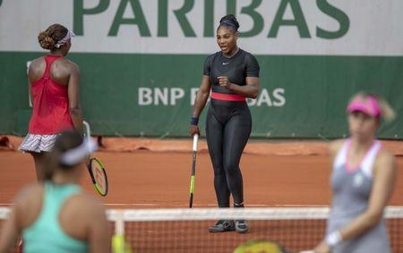 Jun 3, 2018, Paris, France: Venus Williams (USA) and Serena Williams (USA) during their doubles match against Andreja Klepac (SLO) and Maria Jose Martinez Sanchez (ESP) (not pictured) on day eight of the 2018 French Open at Roland Garros. Mandatory Credit: Susan Mullane-USA TODAY Sports