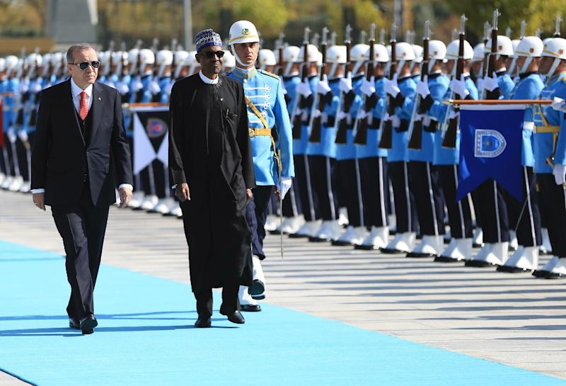 Turkish President Recep Tayyip Erdogan and his Nigerian counterpart Muhammadu Buhari pledged to hike security cooperation between the two nations when they met in Ankara