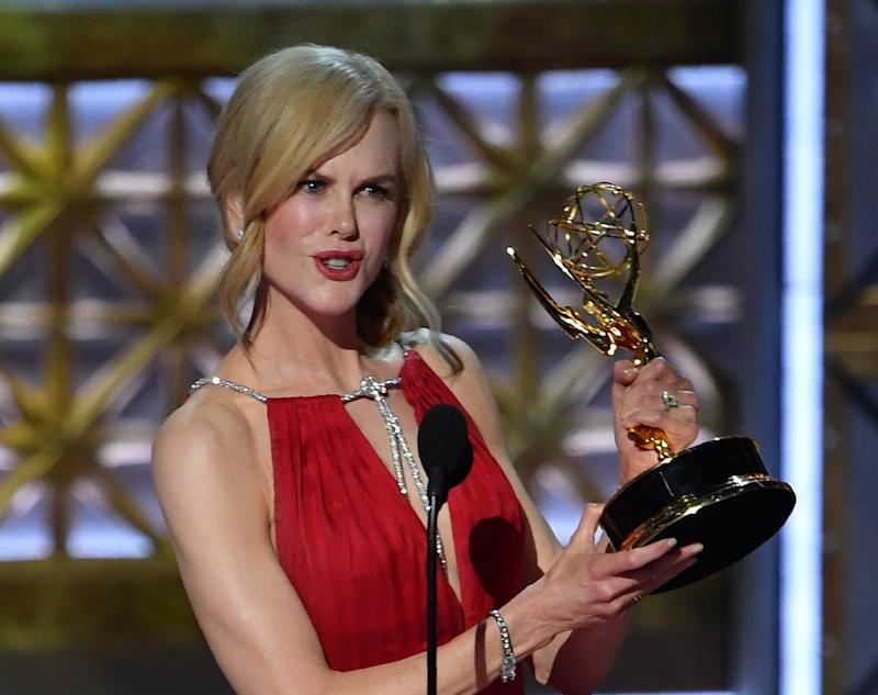 Nicole Kidman in 2017 with her Emmy Award