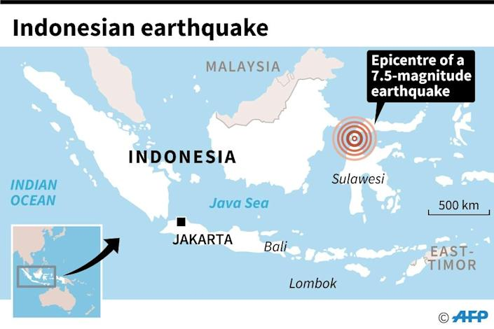Map of Indonesia locating the island of Sulawesi, where an 7.5 magnitude earthquake struck Friday. (AFP Photo/AFP)