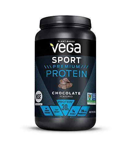 """<p><strong>Vega</strong></p><p>amazon.com</p><p><strong>$39.98</strong></p><p><a href=""""https://www.amazon.com/dp/B016D9IHZG?tag=syn-yahoo-20&ascsubtag=%5Bartid%7C10055.g.35084321%5Bsrc%7Cyahoo-us"""" rel=""""nofollow noopener"""" target=""""_blank"""" data-ylk=""""slk:Shop Now"""" class=""""link rapid-noclick-resp"""">Shop Now</a></p><p>This certified vegan option isn't organic but is non-GMO and packs in <strong>30 grams of plant-based protein from sources like pea and pumpkin seed</strong>. It's also NSF Certified for Sport and contains 5 grams of BCAAs and well as tart cherry for recovery. And with 2 billion CFU probiotics, it rounds things out by supporting healthy digestion. It mixes well but is on the thicker side and take note that it has 400mg sodium per serving, which may be beneficial for serious athletes but not ideal for someone following a low-sodium diet.</p>"""