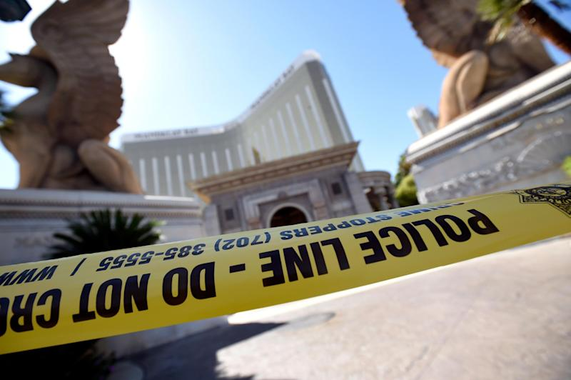 Police tape blocks an entrance at the Mandalay Bay Resort & Caisno: David Becker/Getty Images