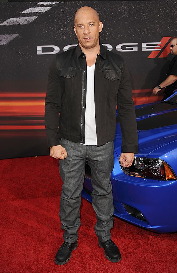 """UNIVERSAL CITY, CA - MAY 21:  Actor Vin Diesel attends the premiere of """"Fast & Furious 6"""" at Universal CityWalk on May 21, 2013 in Universal City, California.  (Photo by Jason LaVeris/FilmMagic)"""