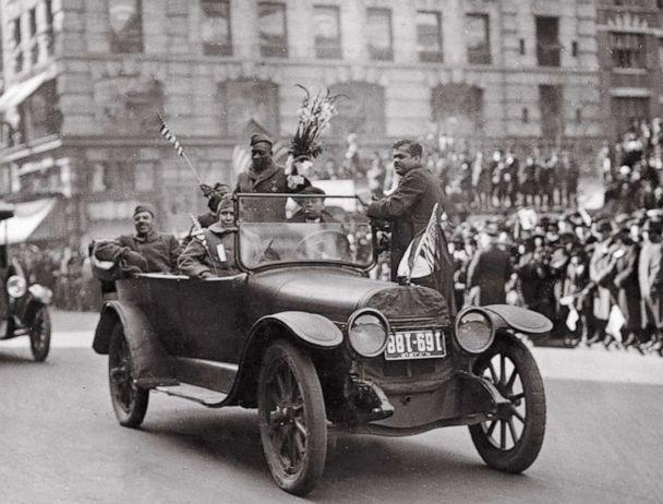 PHOTO: Sgt. Henry Johnson waves while the 369th Infantry Regiment marches up Fifth Avenue in New York, on Feb. 17, 1919 during a parade held to welcome the New York National Guard unit home. Johnson won the Croix de Guerre during World War I. (New York National Guard)