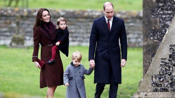 PHOTO: Britain's Prince William and Kate, the Duchess of Cambridge with their children Prince George and Princess Charlotte arrive to attend the morning Christmas Day service at St Mark's Church in Englefield, England, Dec. 25, 2016. (Andrew Matthews/AP Photo)