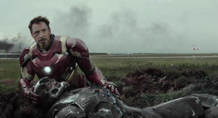 Tony Stark (Robert Downey Jr.) comforts his fallen friend Rhodey Rhodes (Don Cheadle) in Civil War. While some have suspected that War Machine is being referenced in Doctor Strange, the ages don't match. (DIsney/Marvel)