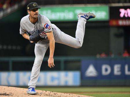 May 17, 2019; Washington, DC, USA; Chicago Cubs starting pitcher Cole Hamels (35) throws to the Washington Nationals during the first inning at Nationals Park. Brad Mills-USA TODAY Sports