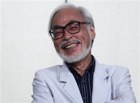 Japanese director Miyazaki speaks during a news conference held to announce his retirement from film in Tokyo