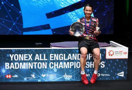 Badminton - Yonex All England Open Badminton Championships - Arena Birmingham, Birmingham, Britain - March 18, 2018 Taiwan's Tai Tzu Ying celebrates with the trophy after victory in the women's singles final Action Images via Reuters/Peter Cziborra