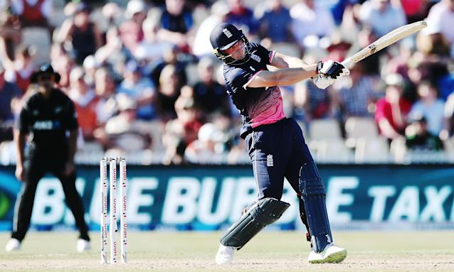 Jos Buttler on his way to 79 from 65 balls for England in Hamilton on Sunday, but it was not enough to save them from defeat in the opening ODI to New Zealand.