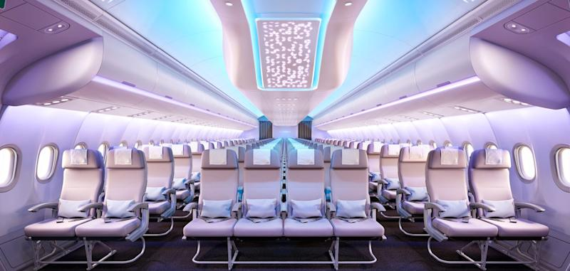 The interior of an A330 Neo plane.