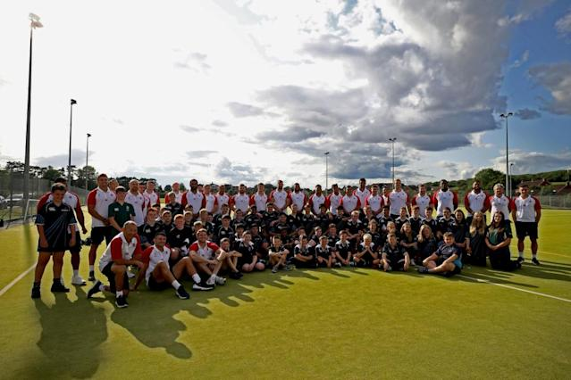 "<span class=""element-image__caption"">England players pose for a photo with school children during the World Cup squad announcement at Blaise High School in Bristol.</span> <span class=""element-image__credit"">Photograph: Tim Goode/PA</span>"