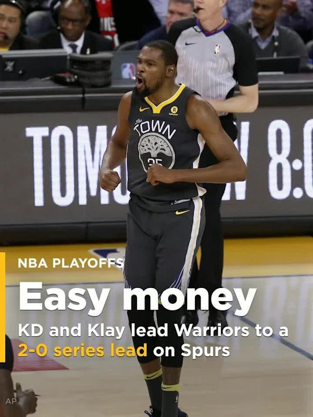 Kevin Durant sparked a decisive third-quarter run on the way to 32 points, Klay Thompson added 31 points and five assists in another superb playoff performance and the Golden State Warriors rallied in the second half to beat the San Antonio Spurs 116-101 on Monday night for a 2-0 lead in their first-round series.