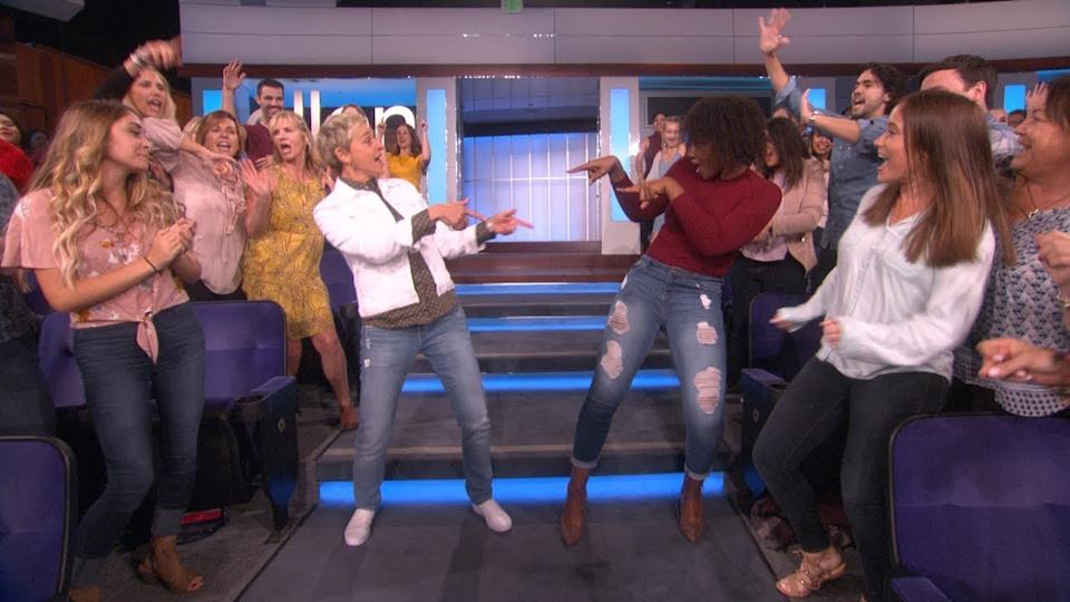 Ellen DeGeneres dancing with audience on The Ellen Show
